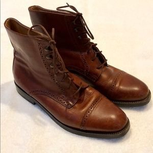 Cole Haan Brown Leather Lace Up Ankle Boots Sz 7.5